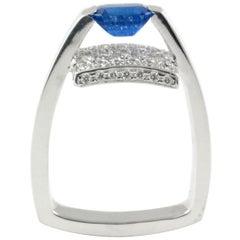 Emerald Cut Blue Sapphire and Pave Diamonds 14 Karat Gold Stylish Cocktail Ring