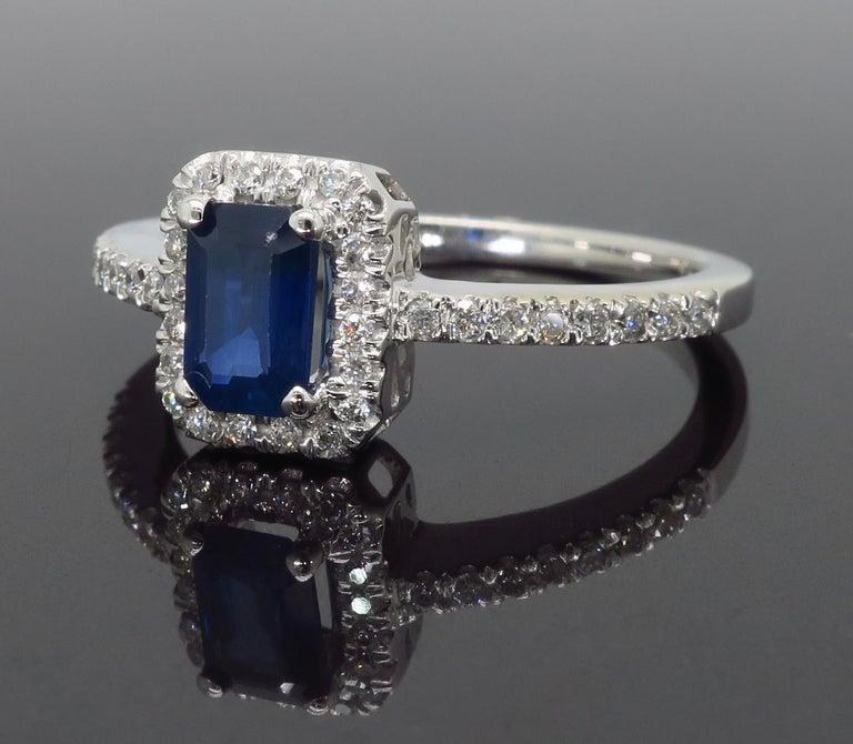 Emerald Cut Blue Sapphire and Diamond Halo Ring In New Condition In Webster, NY