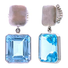 Emerald-Cut Blue Topaz Drop Earrings