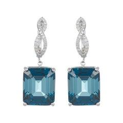 Emerald Cut Blue Topaz Infinity Drop Dangle Earrings Diamond 14k White Gold