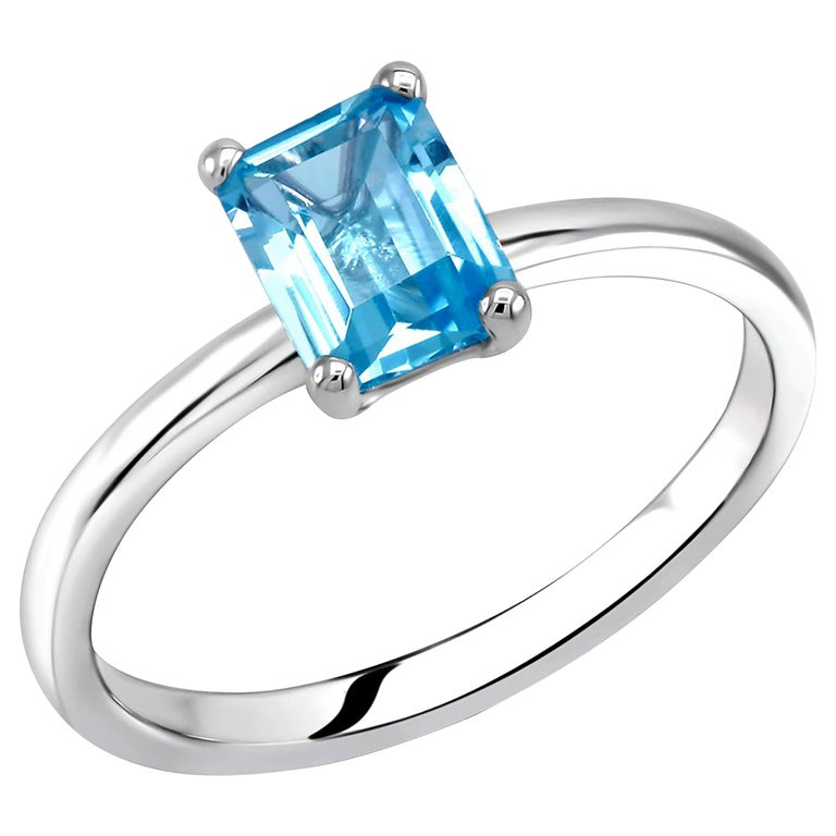 Emerald Cut Blue Topaz Solitaire Sterling Silver Ring For Sale