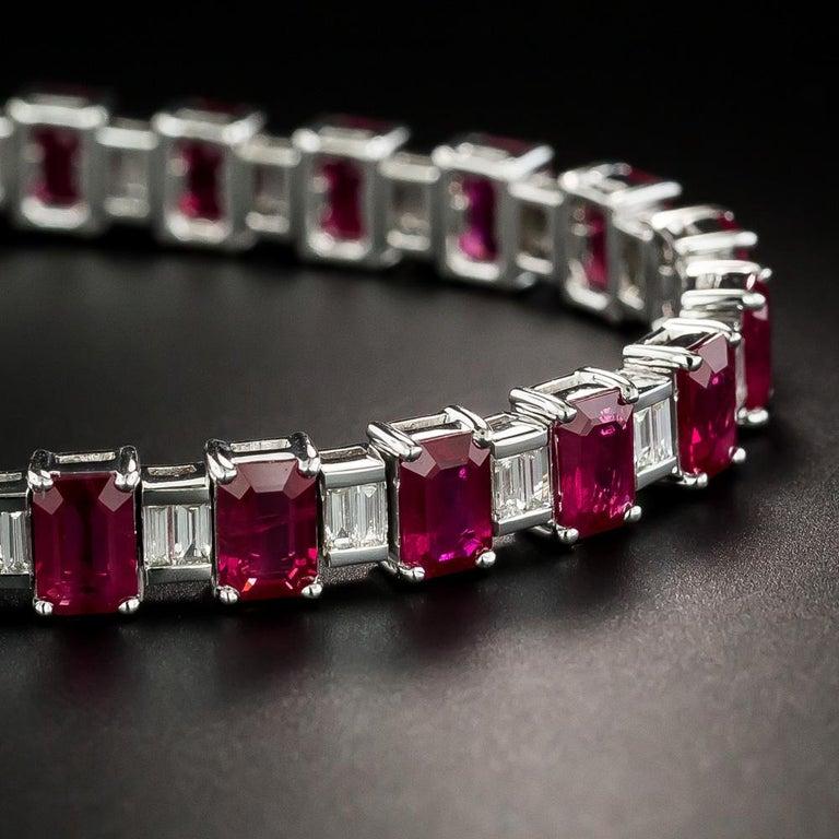 Baguette Cut Emerald-Cut Burmese Ruby and Baguette Diamond Line Bracelet, GIA For Sale