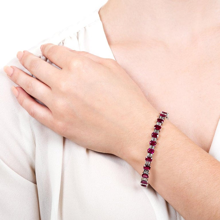 Emerald-Cut Burmese Ruby and Baguette Diamond Line Bracelet, GIA In Excellent Condition For Sale In San Francisco, CA