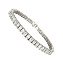 Emerald Cut Certified Color E/F Diamonds 10.55 Carat on Platinum Tennis Bracelet