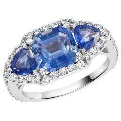 Emerald Cut Ceylon Sapphire Diamond Cocktail Cluster Ring Weighing 4.35 Carat