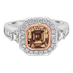 Emerald Cut Champagne Diamond Halo Three-Stone Two Color Gold Bridal Ring