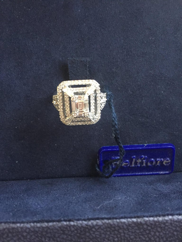 Emerald Cut Cocktail Ring 18 Karat White Gold In New Condition For Sale In Great Neck, NY