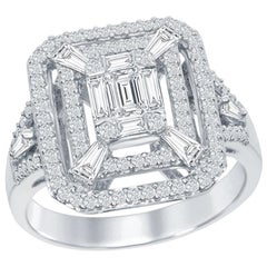 Emerald Cut Cocktail Ring 18 Karat White Gold