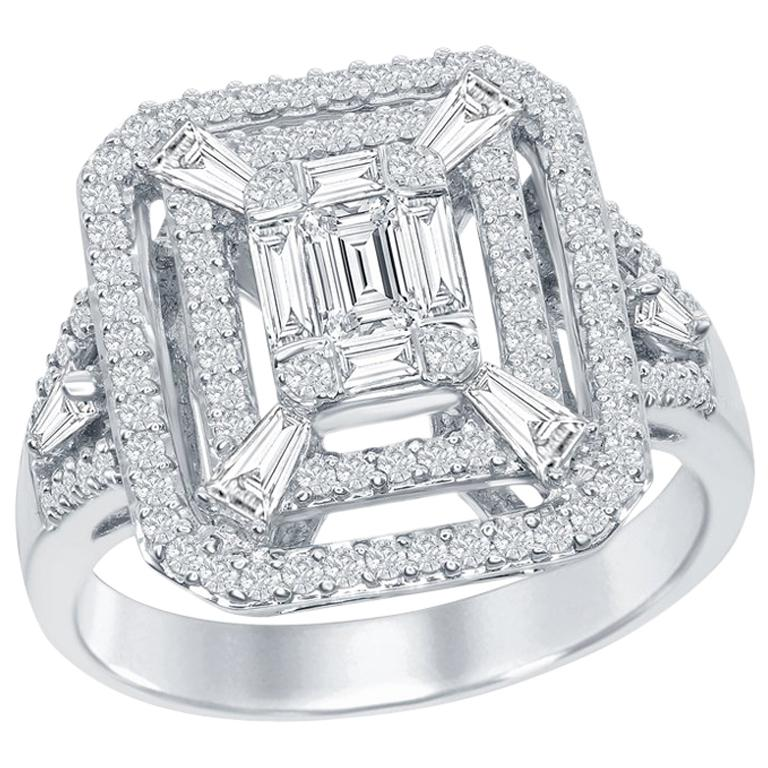 Emerald Cut Cocktail Ring 18 Karat White Gold For Sale