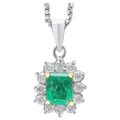 Emerald-Cut Colombian Emerald and Diamond 18 Karat White Gold Pendant