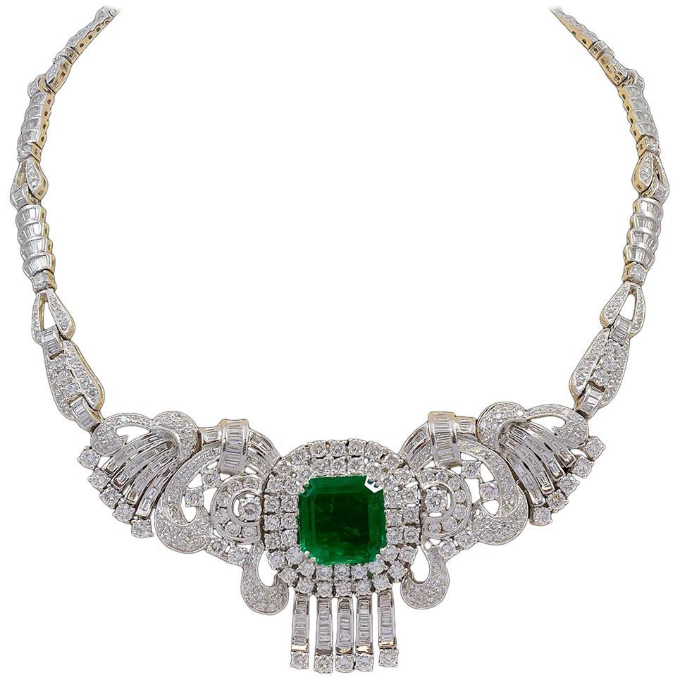 GIA  Certified 16 Ct Emerald Cut Colombian Emerald & Diamond  Necklace Platinum