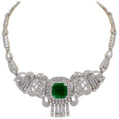 Emerald Cut Colombian Emerald and Diamond Bridal Princess Necklace Platinum
