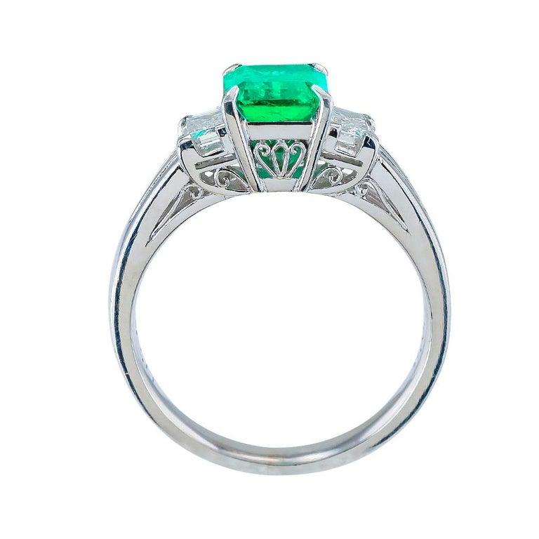 Women's Emerald Cut Colombian Emerald Diamond Platinum Ring For Sale