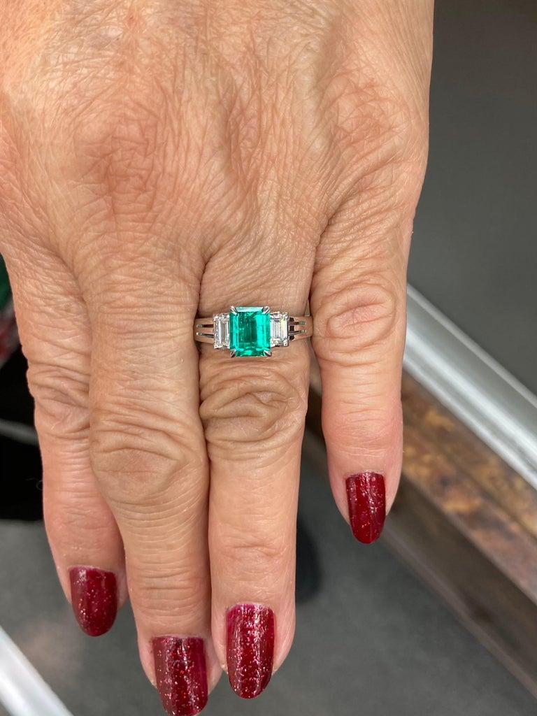 Emerald Cut Colombian Emerald Diamond Platinum Ring For Sale 3
