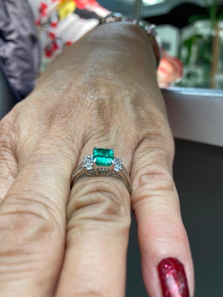 Emerald Cut Colombian Emerald Diamond Platinum Ring For Sale 4