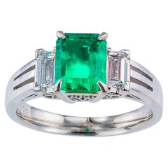 Emerald Cut Colombian Emerald Diamond Platinum Ring
