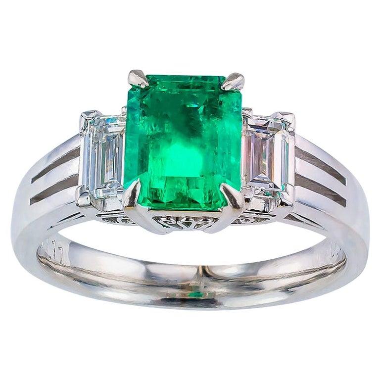 Emerald Cut Colombian Emerald Diamond Platinum Ring For Sale