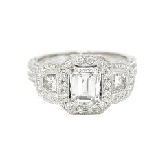 Emerald Cut Diamond 3 Stone Engagement Ring Pave' Band Halo 2.35 Ctw White Gold