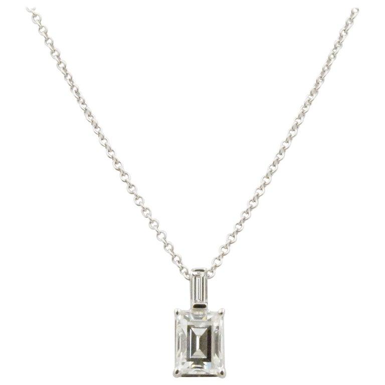 Emerald Cut Diamond and 18 Karat White Gold Pendant For Sale