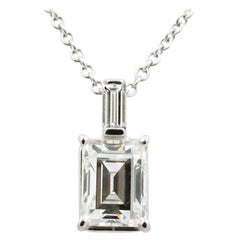 1.33 Carat Emerald Cut Diamond and 18 Karat White Gold Pendant
