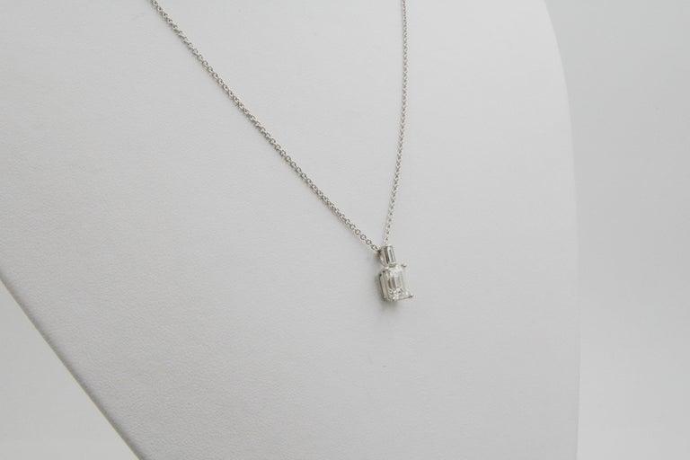 Modern Emerald Cut Diamond and 18 Karat White Gold Pendant For Sale