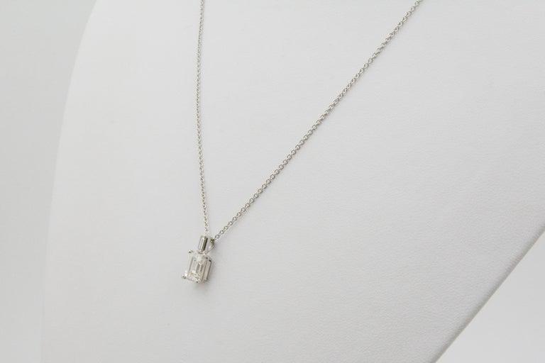 Emerald Cut Diamond and 18 Karat White Gold Pendant In Good Condition For Sale In Dallas, TX