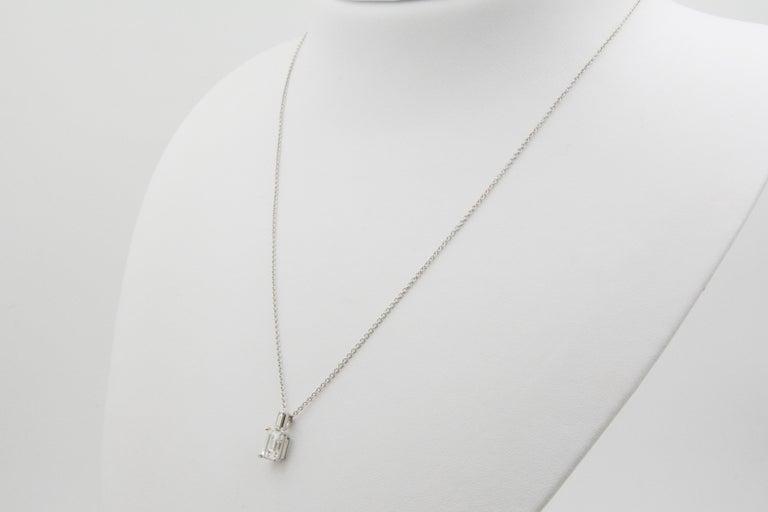 Women's Emerald Cut Diamond and 18 Karat White Gold Pendant For Sale
