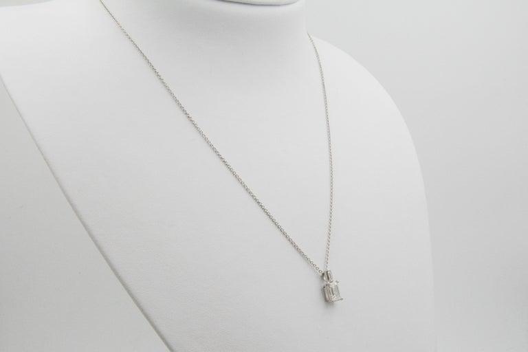 Emerald Cut Diamond and 18 Karat White Gold Pendant For Sale 1