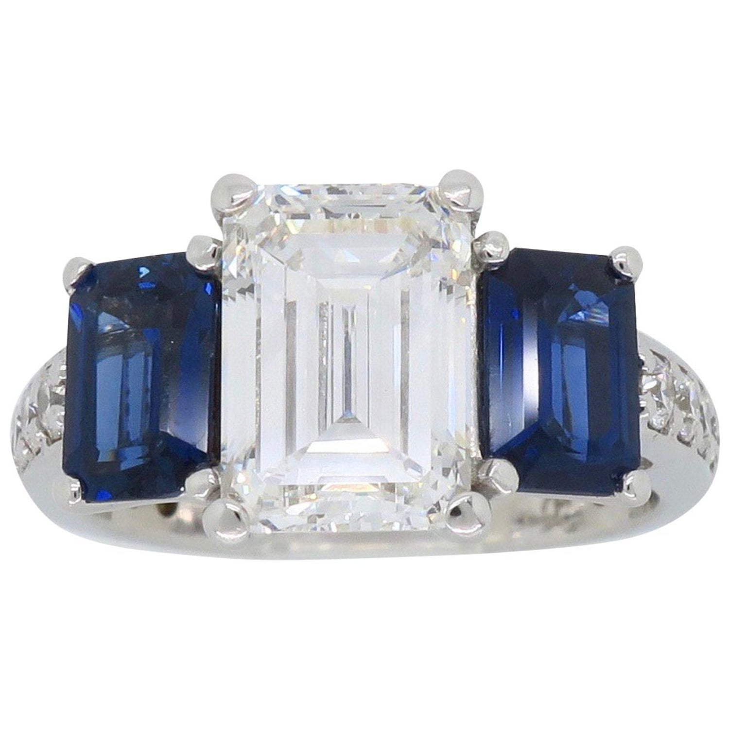 Details about  /3Ct Emerald Cut Blue Sapphire Solitaire Engagement Ring 14K White Gold Finish