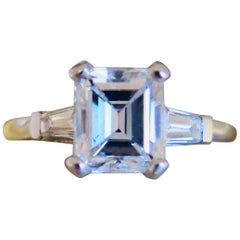 Emerald Cut Diamond and Platinum Ring