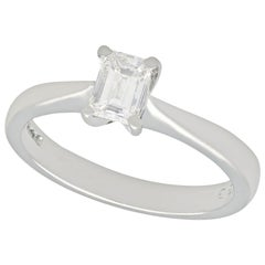 Emerald Cut Diamond and Platinum Solitaire Engagement Ring