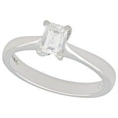 Emerald Cut Diamond and Platinum Solitaire Engagement Ring