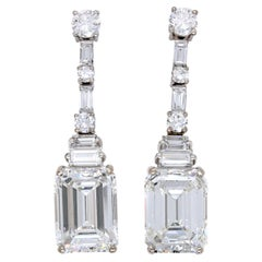 5.37ct & 5.26ct Emerald Cut Diamond Art Deco Earrings, circa 1930s