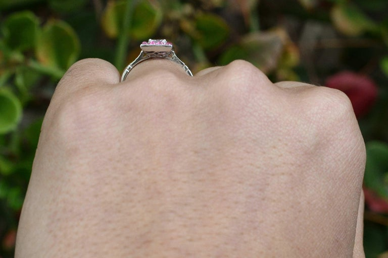 Emerald Cut Diamond Art Deco Style Engagement Ring 3/4 Carat Pink Sapphire Halo In New Condition For Sale In Santa Barbara, CA