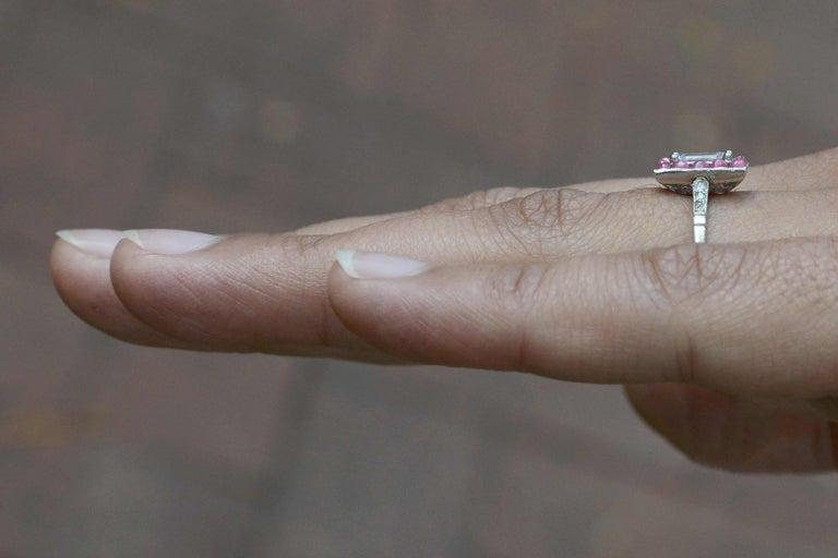 Women's Emerald Cut Diamond Art Deco Style Engagement Ring 3/4 Carat Pink Sapphire Halo For Sale