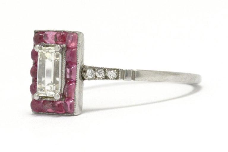 Emerald Cut Diamond Art Deco Style Engagement Ring 3/4 Carat Pink Sapphire Halo For Sale 1