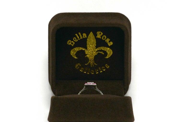 Emerald Cut Diamond Art Deco Style Engagement Ring 3/4 Carat Pink Sapphire Halo For Sale 2
