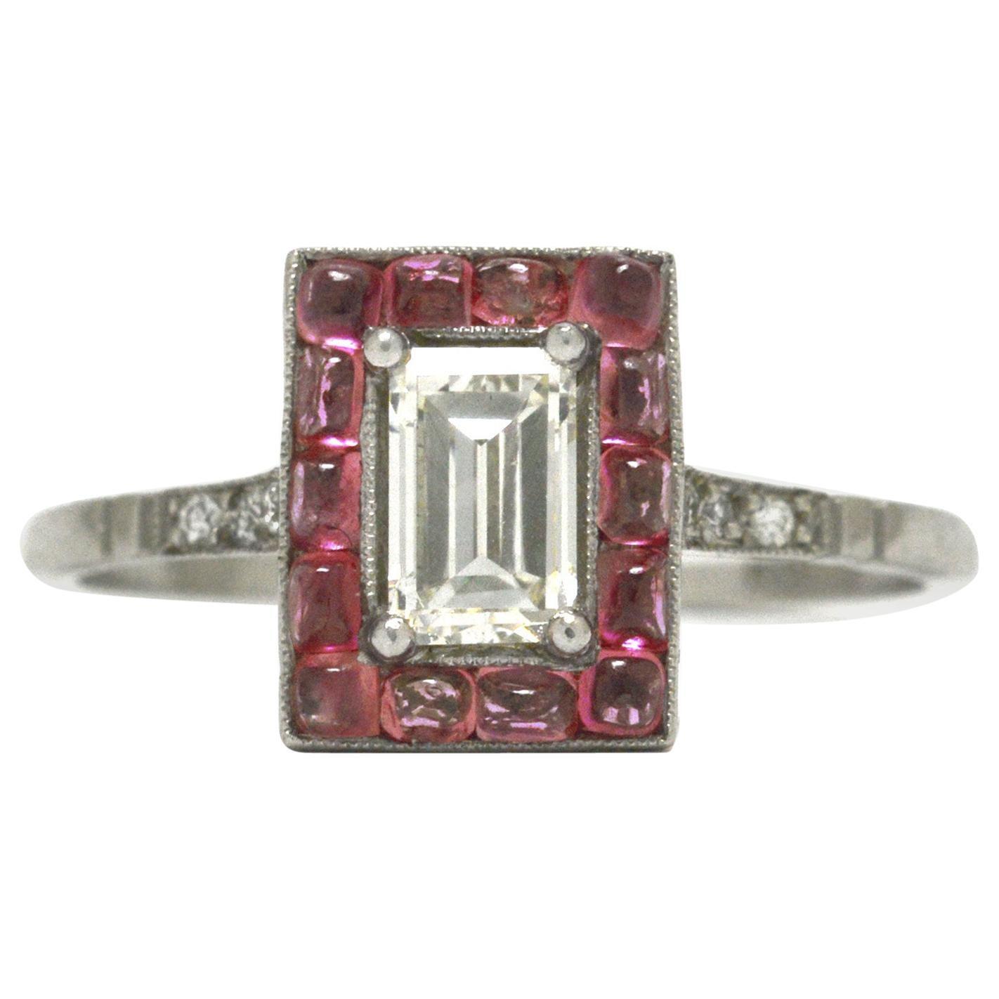 Emerald Cut Diamond Art Deco Style Engagement Ring 3/4 Carat Pink Sapphire Halo