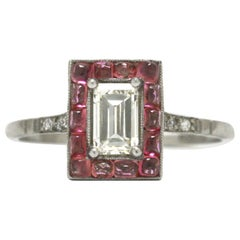 Emerald Cut Diamond Art Deco Style Engagement Ring 3/4 Carat Pink Sapphire Halo