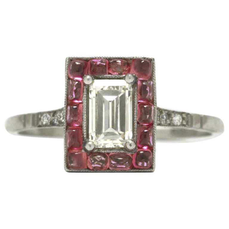 Emerald Cut Diamond Art Deco Style Engagement Ring 3/4 Carat Pink Sapphire Halo For Sale