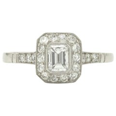 Emerald Cut Diamond Art Deco Style Engagement Ring Platinum Bezel Setting Halo
