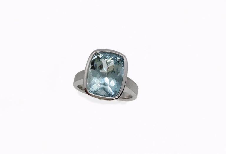 Emerald Cut Diamond Bezel Solitaire Ring For Sale 5