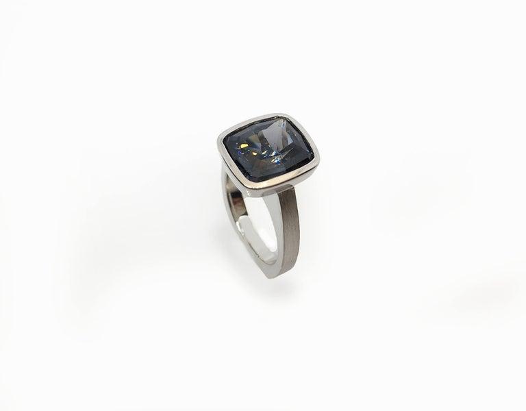 Emerald Cut Diamond Bezel Solitaire Ring For Sale 7