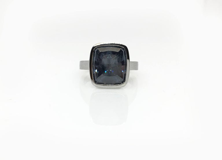 Emerald Cut Diamond Bezel Solitaire Ring For Sale 8