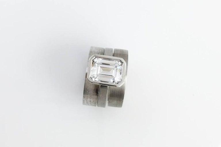 Women's Emerald Cut Diamond Bezel Solitaire Ring For Sale