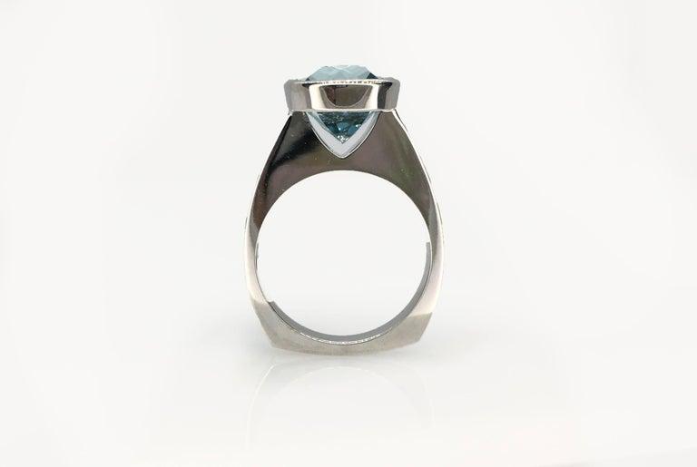 Emerald Cut Diamond Bezel Solitaire Ring For Sale 4