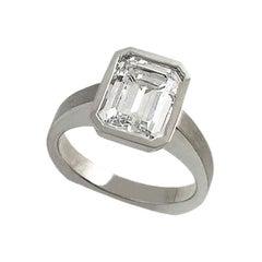 Emerald Cut Diamond Bezel Solitaire Ring