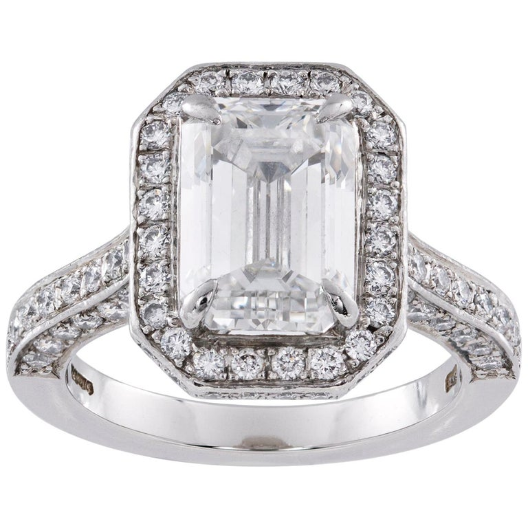 Emerald-Cut Diamond Cluster Ring For Sale