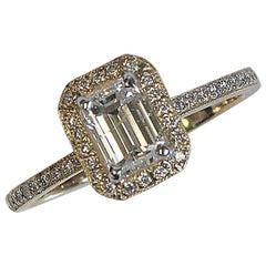 Emerald Cut Diamond Engagement Ring, 1.44 Carat TW, 18 Karat Yellow