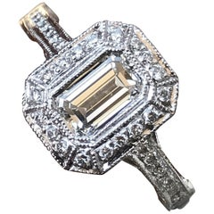Emerald Cut Diamond Engagement Ring, 1.70 Carat, H SI1 Platinum GIA